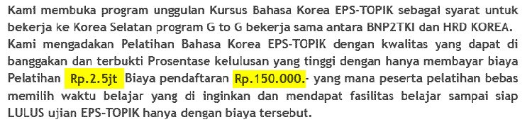 biaya kursus bahasa korea di lia